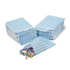 100 X Blu Chiaro Candy Stripe CARTA SWEET BAG-Pick & Mix/nozze (5''X7'')