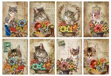 Cats With Flowers Glossy Finish Card Topper - Crafts Embellishment