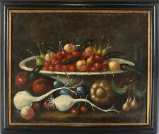 Antique Old Master Style Mystery Artist Fruit & Bowl Still Life Oil Painting JTM