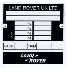 Plaque constructeur LAND ROVER - Land rover vin plate - Land rover typenschild