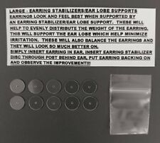 EARRING STABILIZERS PROTECTORS ROUND PLASTIC DISCS SUPPORT BACKS - SET of 10