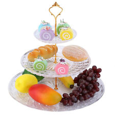 3-Tier Acrylic Round Cake Tray Fruits Desserts Display Holder for Party Wedding