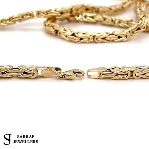 """BYZANTINE KING 585 14ct Yellow GOLD Chain MEN SQUARE NECKLACE 25"""" 3.2MM 18.1G"""