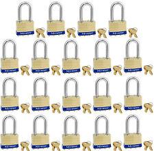 Lock Set by Master Brass 2KALF (Lot of 19) Keyed Alike Laminated Long Shackle