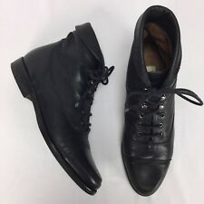 Enzo Angiolini Black Leather Ankle Boots Women Size 7.5 Lace Up Fold Over Granny