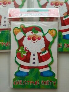 "Amscan CHRISTMAS PARTY INVITATIONS ""Whimsical Santa Claus"" 4 packs 8 invites 32"