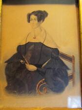 ANTIQUE 1830s AMERICAN PUFFY DRESS MINIATURE FOLK ART PORTRAIT PAINTING