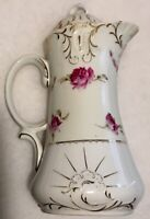 Antique Old Ivory PINK Handpainted ROSE SPRAYS Swags CHOCOLATE POT Gilded NR