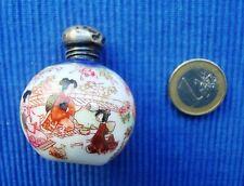 V25 Fiole Gourde Parfum Flacon Sels Argent Massif Anglais 1907 Porcelaine Japon