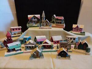Huge Lot /17 - Vintage Putz Cardboard Christmas Village Houses Glitter Japan