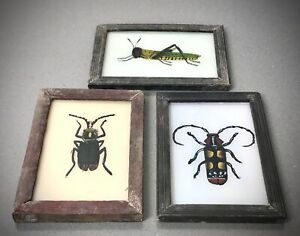 VINTAGE INDIAN REVERSE GLASS PAINTINGS. GRASSHOPPER & TWO BEETLES. SET OF 3.