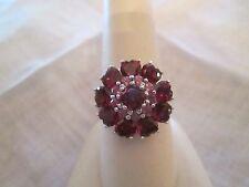 Vintage Sterling silver Garnet &  pink tourmaline ring , size 7 Gorgeous