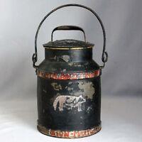 Antique Primitive Vtg TOLEWARE Hand Painted COW Tin CREAM MILK CAN Bail Handle