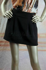 $750 New with tags GUCCI Black Side Belts Pleated Mini Skirt 42 8