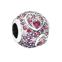 Rose Heart 925 silver charm Round bead For European Bracelet Bangle Necklace