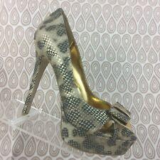 Penny Loves Kenny Women's Snake Print Open Toe Platform High Heels Size 7M S524