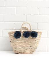 Indigo Blue Small Pom Pom Mini French Market Beach Basket Tote Shopper Straw Bag