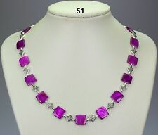"""Lovely purple shell 12mm square bead necklace, Tibetan silver spacers 19""""+2"""