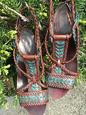 7 For All Mankind NWT Brown Braided Sandal Heels Turquoise $255 Tribal SALE WOW!