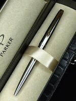 Parker 45 Stainless Steel GT  Pen Click / Blue Ink /  Box / Made In the UK / NEW