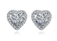 18k White Gold GP Austria Crystal AAA CZ Zircon Heart gem Earrings Studs