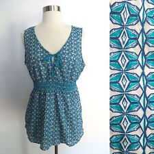 NEW NWT Eddie Bauer size LARGE blue geometric print sleeveless sheer blouse top