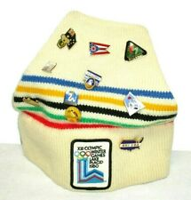 VTG 1980 Winter Games Lake Placid Hat/Beanie MINT W/20 World Pins SKI XOPD
