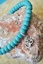 Blue Turquoise Gemstone Om Aum Ohm Spiritual Natural Healing Stretch Bracelet