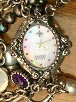 Vintage Retro Saddle River MOP Oval Dial Charm Bracelet Ladies Quartz Watch