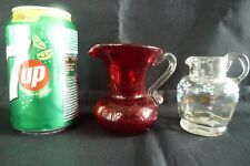 2 Small Victorian 19th Century Glass Jug Red Crackle Glass Hand Painted