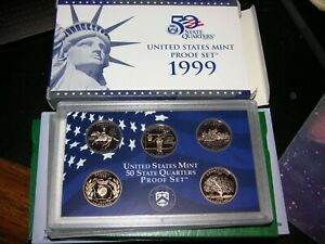 1999 US MINT PROOF COIN SET Original Package COA 9 COINS -5 of 50 State Qtrs