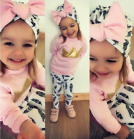 Cute Toddler Kids Baby Girls Crown Tops T-shirt Long Pants Outfits Clothes 3Pcs