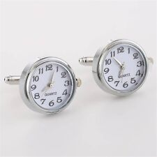 Real Round Clock With Machine Core Cufflinks Brass Cuff Link Mens Wedding Gift