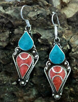 Ethnic sterling silver earrings Asian Turquoise and coral Tibetan jewelry E1