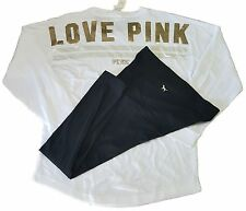 SET SWEATSHIRT & LAGGING VICTORIA'S SECRET PINK VARSITY GOLD SEQUIN BLING CREW