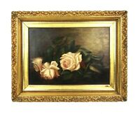 Antique 19th Century Floral Still Life Oil Painting of Flowers Pink Roses Framed