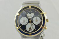 ETERNA AIRFORCE QUARTZ HERREN UHR CHRONO STAHL/GOLD VINTAGE CHRONO DEFEKT