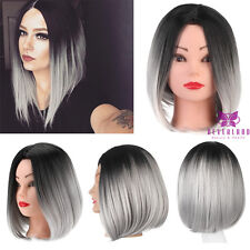 Heat Resistant Synthetic Wig Ombre Wigs Cosplay Straight Bob Black & Grey Hair