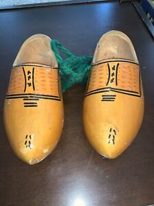 Vintage Pair of Wooden Shoes - Painted In The Traditional Style Made In Holland
