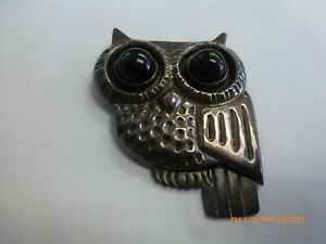 Large Famous Spratling Sterling Silver And Onyx Owl Brooch Pin