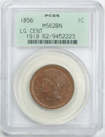 1856 1C Upright 5 Braided Hair Large Cent PCGS MS 62 BN Uncirculated OGH Old ...