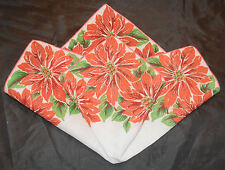 vintage handkerchief POINSETIAS  Christmas Hanky ESTATE Charming GREAT CONDITION