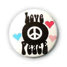 Badge LOVE ☮ PEACE Coeurs noir fond BLANC pop 60 70's Rock pins button Ø25mm