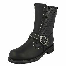 LADIES HARLEY DAVIDSON ABBIE BLACK ZIP UP LEATHER STUDDED MID CALF BIKER BOOTS