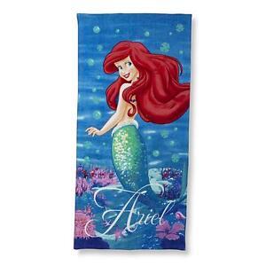 "Towel Bath Beach Pool Cotton 28""x58"" Disney Ariel Little Mermaid Age 3+ NEW"