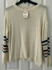 ALTAR'D STATE SIZE LARGE IVORY W/ MULTI STRIPE ARM SWEATER STYLE 10475 NEW NWT