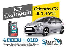 Kit Tagliando Olio Total + Filtri Tecneco Citroen C3 II 1.4 VTi 95 (A51) 70KW