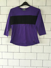 WOMEN'S RALPH LAUREN URBAN VINTAGE RETRO PURPLE 3/4 SLEEVE T SHIRT TOP UK 10/12