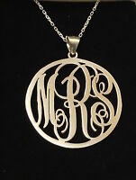 HANDMADE Personalised Round Monogram Necklace-Name Necklace,925 Sterling Silver
