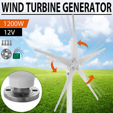 1200W Wind Turbine Generator Unit DC 12V With Power Charge Controller 5 Blades